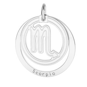 Scorpion zodiac pendant*sterling silver 925*LKM-2592 - 0,50 18x22 mm