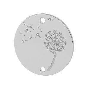 Dandelion pendant connector, sterling silver, LKM-2027