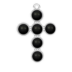 Cross pendant base for Swarovski pearls 6 mm*sterling silver*ODL-00666 20,5x29,5 mm ver.2
