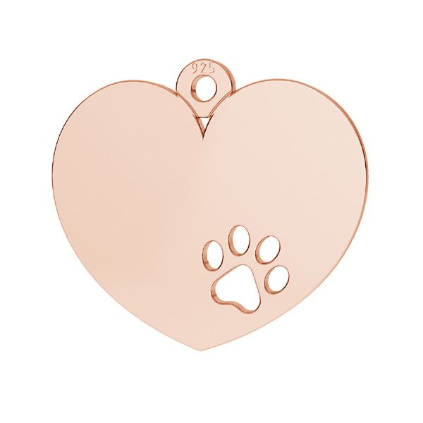 Heart with dog paw pendant, sterling silver, LKM-2295 - 0,50
