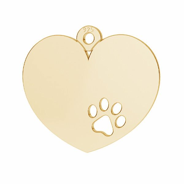 Heart with dog paw pendant with engraving*sterling silver 925*G-LKM-2295 - 0,50 14x15,5 mm