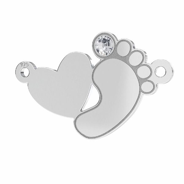 Baby foot heart pendant connector with Swarovski crystal*sterling silver 925*LKM-2647 - 0,50 12,8x20,1 mm