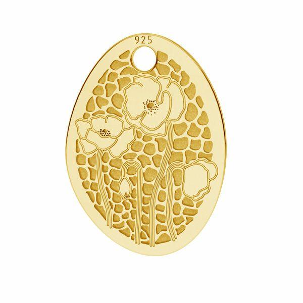 Poppies pendant*sterling silver 925*LKM-2678 - 0,50 10,9x15 mm