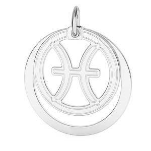 Pisces zodiac pendant*sterling silver 925*LKM-2591 - 0,50 ver.2 18x22 mm