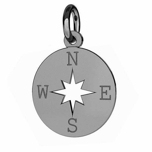 Compass wind rose pendant wth jumpring, sterling silver, J-LKM-2015 - 0,40 13x15,5 mm