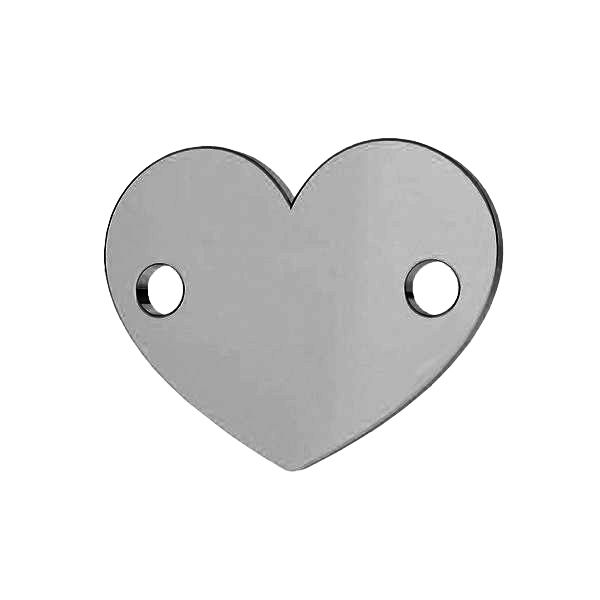 Heart connector, sterling silver, LK-0462 - 0,80