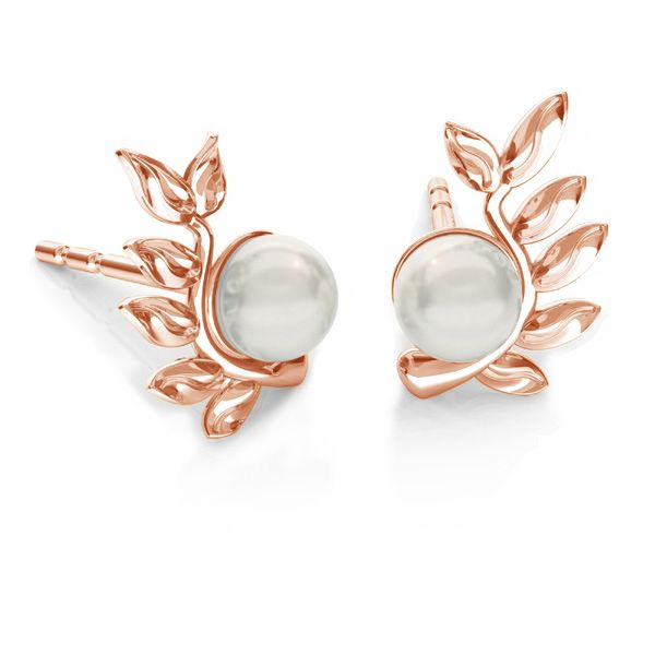 Leaves earrings base for Swarovski pearls*sterling silver*ODL-00791 L+P 6,7x10,5 mm (5818 MM 4)