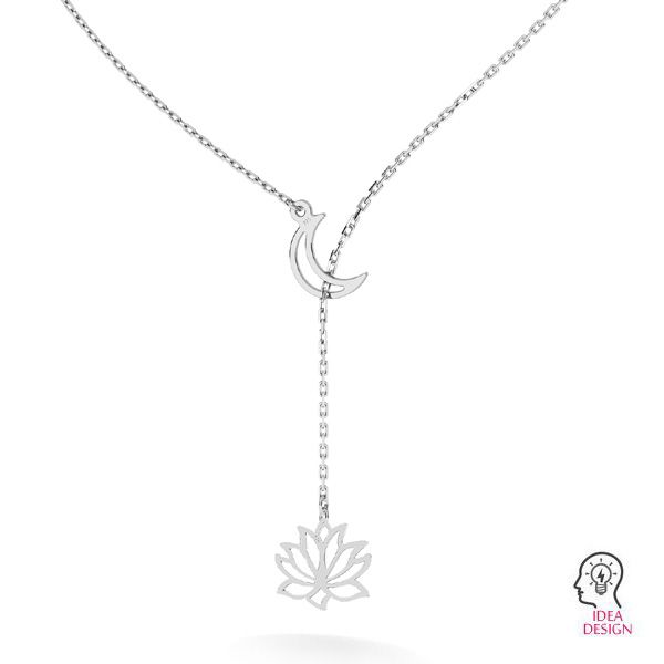 Necklace base with moon*sterling silver 925*CHAIN 39 (A 030)
