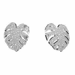 Monstera earrings, sterling silver 925, KLS LKM-2760 - 0,50 10x11,2mm