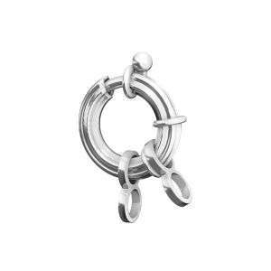 Federing clasps with jumprings, sterling silver 925, AMP 3x13,5 mm