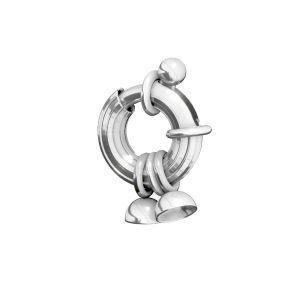 Federing clasps with end caps, sterling silver 925, AMC 3x11,5 mm