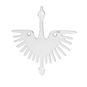 Crane bird pendant connector, sterling silver, LKM-2824 - 0,50 25x25 mm