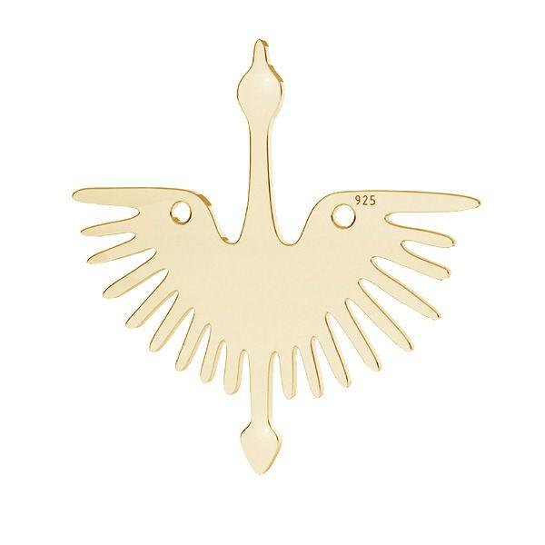 Crane bird pendant connector, sterling silver, LKM-2824 - 0,50 25x25 mm