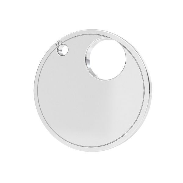 Round pendant connector tag, toogle base*sterling silver 925*LKM-2738 - 0,50 18x18 mm