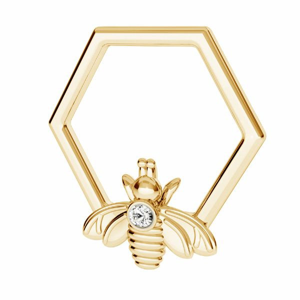 Bee with Swarovski crystal pendant*sterling silver 925*ODL-00830 ver.2 13,9x15 mm