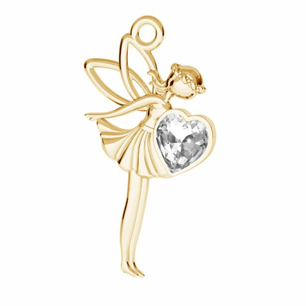 Fairy pendant with Swarovski Heart crystal, silver 925*ODL-00831 ver.2 17,5x25,5 mm
