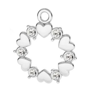 Rosette with hearts and Swarovski Crystals pendant, sterling silver 925*ODL-00812 ver.2 13,5x15,5 mm