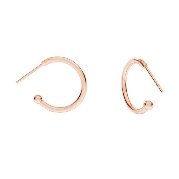 Semicircular earrings with ball, sterling silver 925, KLK-420 16,5x20,5 mm