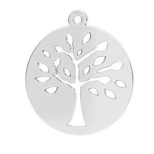 Tree pendant, sterling silver, LKM-2626 - 0,50 16x17,5 mm