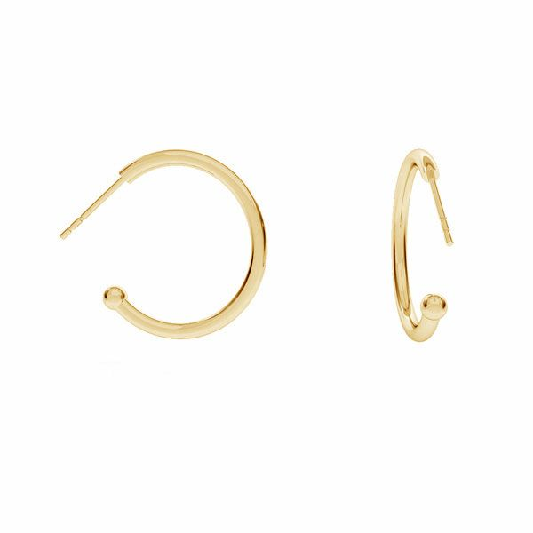 Semicircular earrings with ball, sterling silver 925, KLK-430 20x22,5 mm