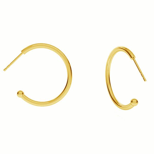 Semicircular earrings with ball, sterling silver 925, KLK-440 25,5x26 mm