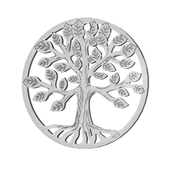 Tree pendant, sterling silver, LKM-2939 - 0,50 19x19 mm