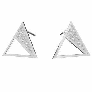 Square earrings, sterling silver 925, KLS LKM-2750 - 0,50 11,3x13,1 mm