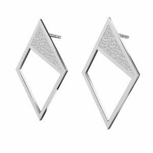 Rhombus earrings, sterling silver 925, KLS LKM-2751 - 0,50 11x19,2 mm