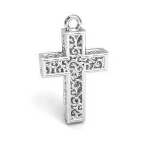 Cross pendant silver, sterling silver 925,CON 1 E-PENDANT 657 11,8x19,8 mm
