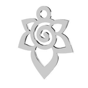Rose flower pendant, sterling silver 925, LKM-2217 - 0,50 12,6x15,6 mm