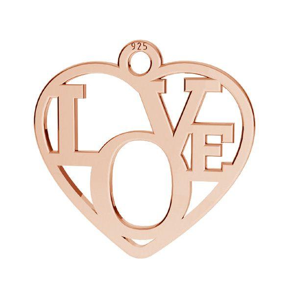 Heart pendant - LOVE, sterling silver 925, LK-2677 - 0,50 15,5x16 mm