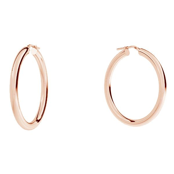 Round hoop earrings 5 cm with clasp, sterling silver 925, KL-440 4x40 mm