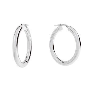 Round hoop earrings 4 cm with clasp, sterling silver 925, KL-430 4x30 mm