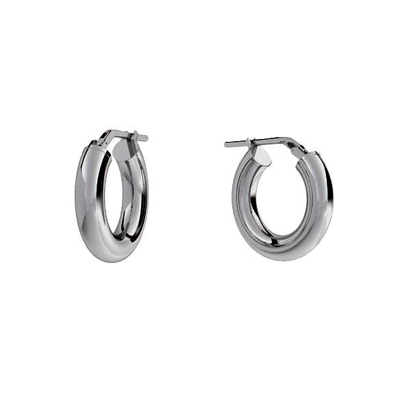 Round hoop earrings 2,5 cm with clasp, sterling silver 925, KL-415 4x15 mm