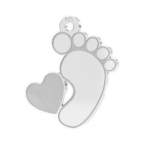 Baby foot pendant Swarovski heart*sterling silver 925*LKM-2644 - 0,50 13x14,7 mm (2808 mm 6)