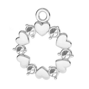 Rosette with hearts and Swarovski Crystals pendant, sterling silver 925*ODL-00812 13,5x15,5 mm