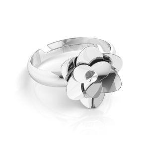 Rose ring, crystal base*sterling silver 925*U-RING ODL-00041 11 mm