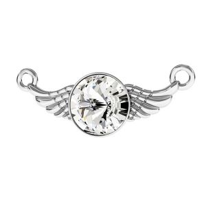 Wing connector pendant with crystal, sterling silver 925, ODL-00310 11X26,5 mm ver.2