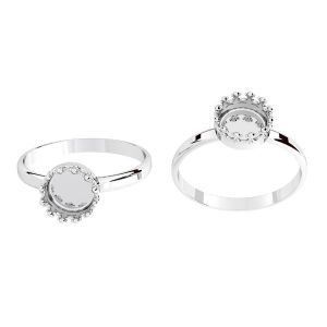 Round ring for resin - crown*sterling silver 925*ODL-00681 RING (R-13)