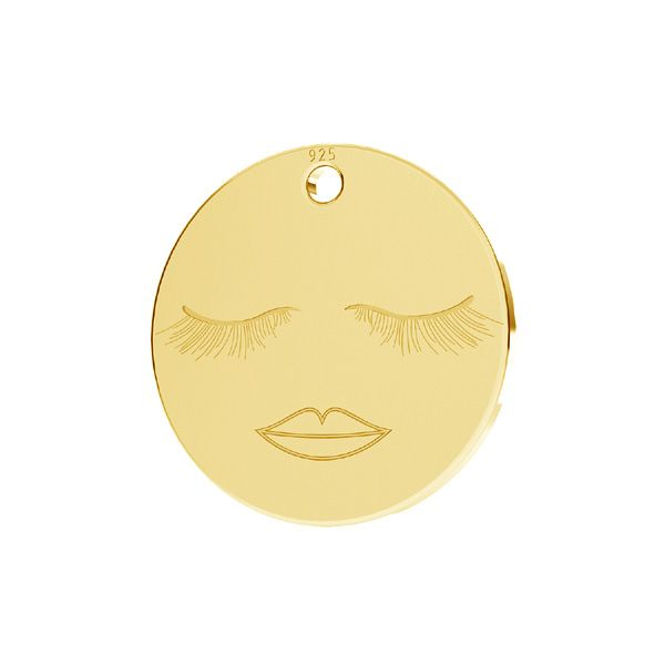 Smile emotikon pendant tag, sterling silver, LKM-2615 - 0,50 13x13 mm