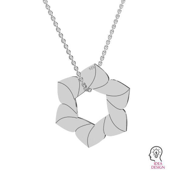 Flower pendant, sterling silver 925, LKM-2788 - 0,50 14,7x17 mm