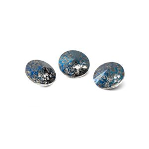 Round crystal 8mm, RIVOLI 8 MM GAVBARI METALIC BLUE PATINA