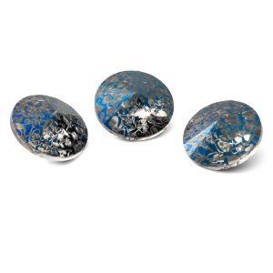 Round crystal 12mm, RIVOLI 12 MM GAVBARI METALIC BLUE PATINA