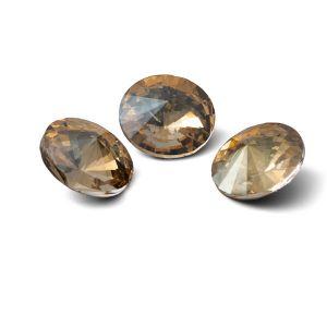 Round crystal 12mm, RIVOLI 12 MM GAVBARI IRIDESCENT GOLD