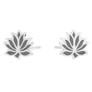 Lotus flower post earring, sterling silver 925, KLS LKM-3002 - 0,50 9x9 mm