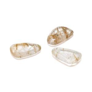 FLAT TEARDROP pendant, Gold Rutile 16 MM GAVBARI, semi-precious stone