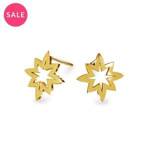 Star earrings, sterling silver 925, KLS LKM-2255 - 0,50 11,1x13 mm