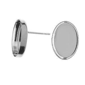 Oval earring, resin base, sterling silver 925, KLSG FMG 10x14 mm