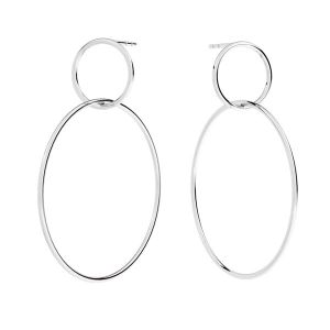 Double circle earring, sterling silver, KLS-27 34x44,4 mm