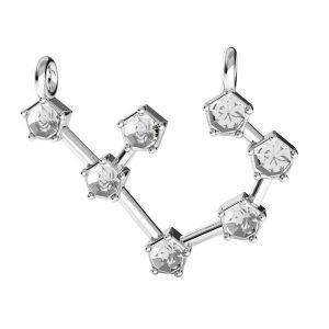 Sagittarius zodiac pendant crystals base*sterling silver 925*ODL-00657 17,5x19 mm